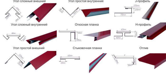 Части системы  металлического фасада