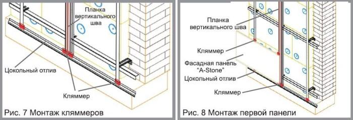 Схема монтажа фасадных панелей